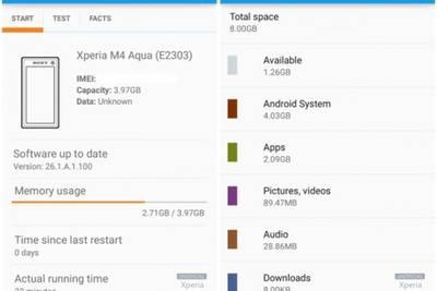 Sony Xperia M4 Aqua из 8 Гб ПЗУ предлагает пользователю лишь 1.26 Гб памяти
