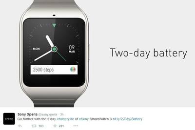 Sony высмеяла автономность Apple Watch.