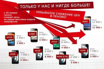 Lenovo снизила цены на массовые доступные смартфоны в России