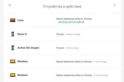«Устройства и действия» для безопасности аккаунта Google