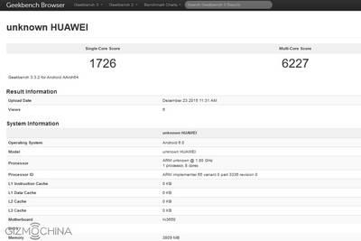 В бенчмарке замечен новый флагман Huawei
