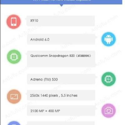 LeTV Max Pro (Le 2 Pro, x910) прошел тест в AnTuTu с Snapdragon 820 на борту