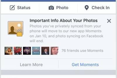 Facebook заставит мобильных пользователей перейти на Moments