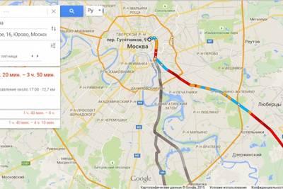В Google Картах появились российские пробки